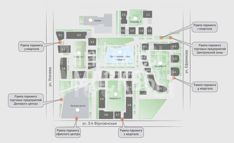 Схема корпусов в жилом комплексе Садовые кварталы в Хамовниках