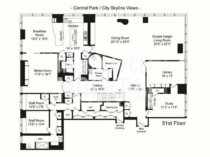 Планировки пентхауса в небоскребе One Beacon Court 151 East 58th Street