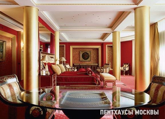 Фото интерьера спальни пентхауса в стиле ар-деко